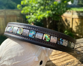 Beaded Horse Browband w/ Abalone Shell and Silver Swirls