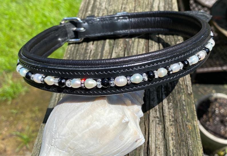 Pearl /& Rhinestones Quartz Crystal Beaded Dog Collar w Obsidian