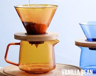 VANILLA BEAN Pour Over Coffee Set Orange Blue Unique Coffee Dripper Coffee Dripper Coffee Maker Coffee Stand Premium Gift Set Coffee Carafe