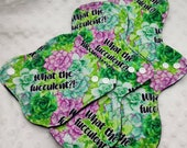 What the Fucculent, succulent print cloth menstrual pad, panty liner washable cloth pad available in 6 8 10 12 14 inch average and heavy