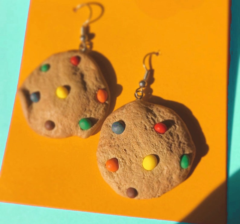 Rainbow Chocolate Chip Cookie Earrings Realistic Food image 0