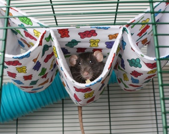 Triple Tunnel Hammock with Fleece + Cotton - Hanging  for Rats, Ferrets, Hamsters, Mice, etc. gift in the UK