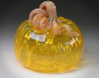 Transparent Saffron Glass Pumpkin with Chalcedony Stem
