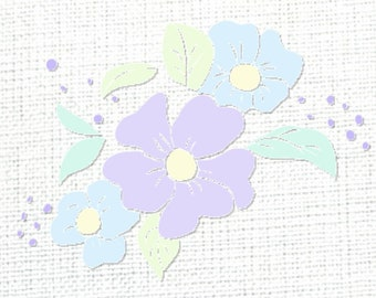 SVG PNG Files, Flower Pastel Art for Cricut, Craft & PNG Sublimation Designs, Floral Art Image Vector Clipart, Printable Digital Download