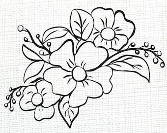 SVG PNG Files, Flower Line Art for Cricut, Craft & PNG Sublimation Designs, Floral Art Image Vector Clipart, Printable Digital Download File