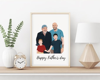 Drawing From Photo, Fathers day gift, dads gift,Family Portrait, Custom Art, Photo Art, Picture into Art, Personalized Gift, Custom Portrait
