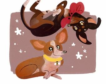 PORTRAIT FOR TWO! Digital Pet Portrait Custom, Cartoon Pet Portrait, Pet Portrait Illustration, Pet Portrait From Photo