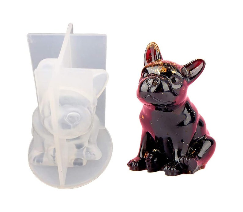 3D Resin Bulldog Silicone Molds DIY  Mould Epoxy Resin Pendant Charms French Bulldog Molds