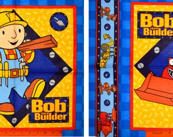 BOB the BUILDER FABRIC Panel   Rare Long Retired!   For Pillow or Quilting   Construction Boy Orange Yellow