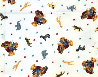 Long Retired! Blue JEAN TEDDY FABRIC | Lighter Weight Fabric | Sold By The Half Yard! | For Sewing Quilting | Teddy Bear Noah's Ark White