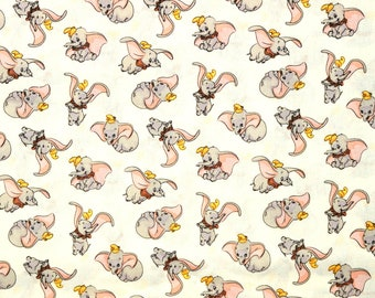 DUMBO DISNEY FABRIC | Sold By The Half Yard! | For Sewing Quilting | 100% Cotton | Elephant Circus Cream