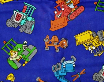 Long Retired! BOB the BUILDER FABRIC   Sold By The Half Yard!   For Sewing Quilting   Wendy Roley Lofty Dizzy Scoop Muck  Construction Navy