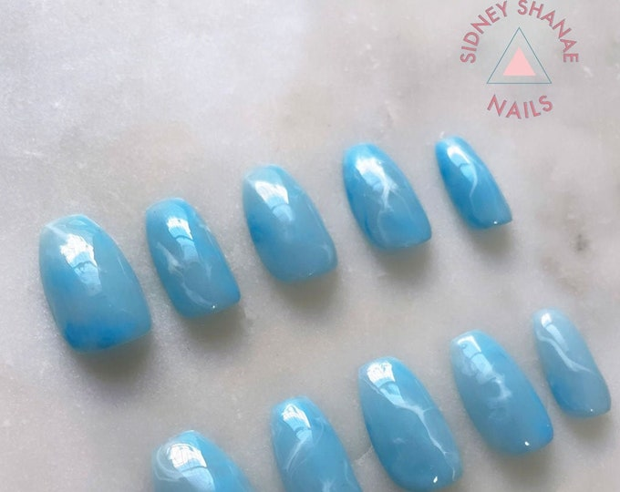 Pisces Aquamarine | Stone Collection | Press on Nails | False Nails | Matte or Glossy