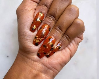 Tortoiseshell | With or Without Gold Flakes | Press on Nails | False Nails | Matte or Glossy