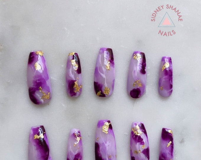Aquarius Amethyst | Stone Collection | Press on Nails | False Nails | Matte or Glossy