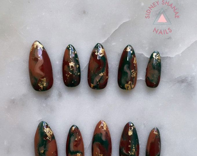 Aries Bloodstone | Stone Collection | Press on Nails | False Nails | Matte or Glossy