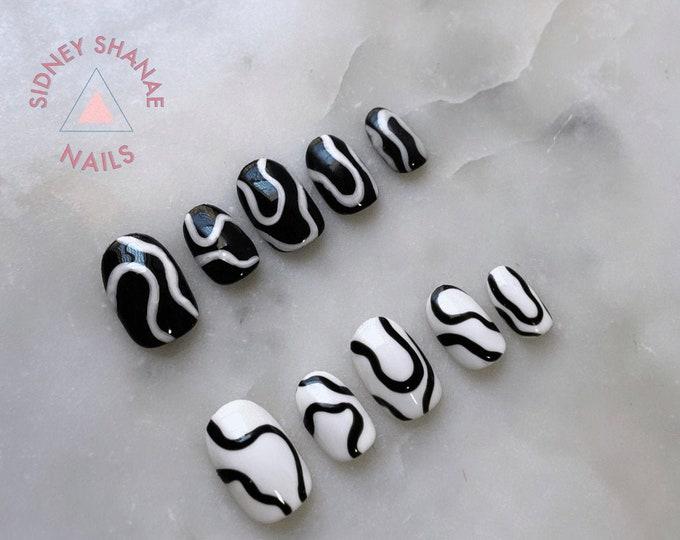 Oreo Rave | Press on Nails | False Nails | Matte or Glossy