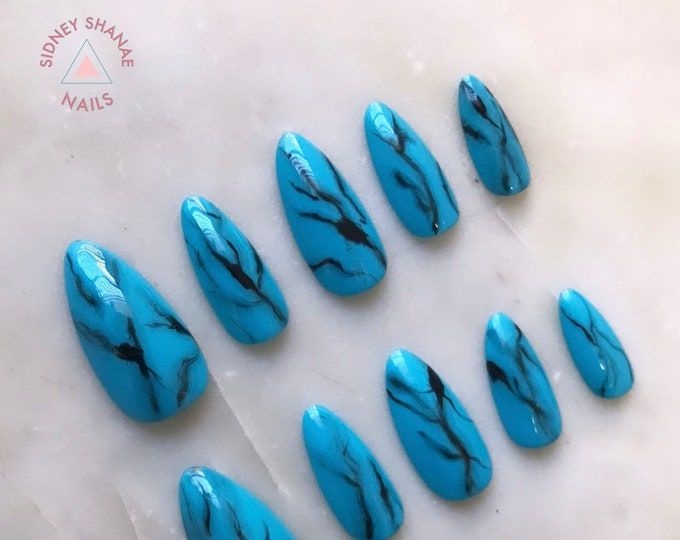 Sagittarius Turquoise | Stone Collection | Press on Nails | False Nails | Matte or Glossy