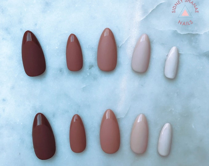 Chocolate Frosty | Nude Collection | Press on Nails | False Nails | Matte or Glossy