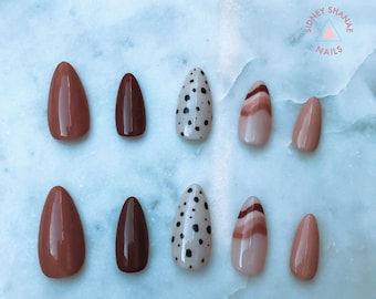 Almond Butter Brittle | Nude Collection | Press on Nails | False Nails | Matte or Glossy