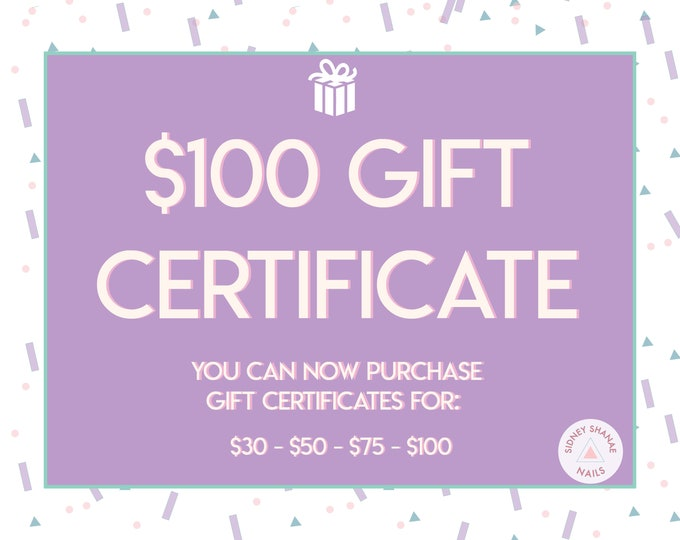 Gift Certificate for 100 Dollars | Printable Gift Card | 30 50 75 100 Dollar Gift Certificate | SidneyShanaeCo Gift Card