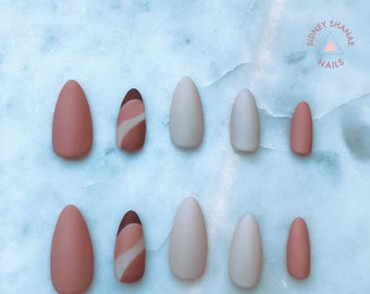 Salted Caramel | Nude Collection | Press on Nails | False Nails | Matte or Glossy