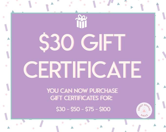 Gift Certificate for 30 Dollars | Printable Gift Card | 30 50 75 100 Dollar Gift Certificate | SidneyShanaeCo Gift Card