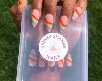 Pride Wave Set   Rainbow Nails   Press on Nails   False Nails   Matte or Glossy