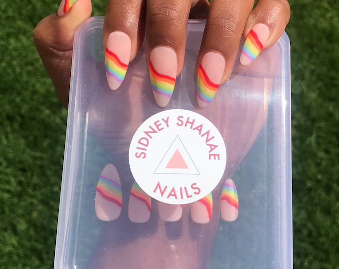 Pride Wave Set | Rainbow Nails | Press on Nails | False Nails | Matte or Glossy