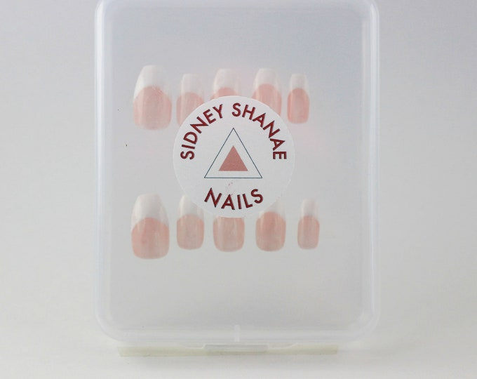 Classic French Tip Set | Press on Nails | False Nails | Matte or Glossy
