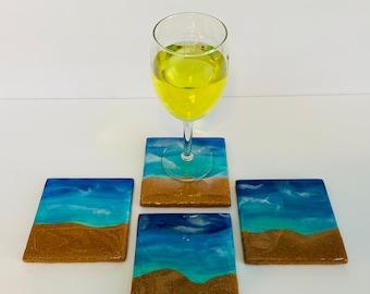 Beach Coasters / Painted Ceramic Tile Coasters / Beach Coaster set of 4 / Cork Backed Coasters / Resin Coasters / Beach Theme Coasters