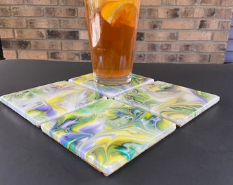 Painted Ceramic Tile Coasters / Coaster set of 4 / Beverage Coasters / Drink Coasters / Purple Green and Yellow Coasters / Resin Coasters