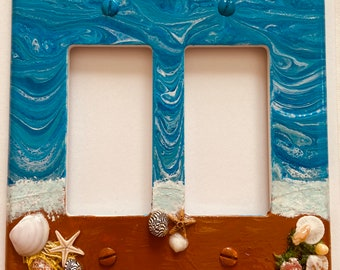 Beach Switch Cover, Beach Wall Plate, Painted Rocker Switch Cover, Double Rocker Switch Cover, Hand Painted Double Rocker Wall Plate, Beach