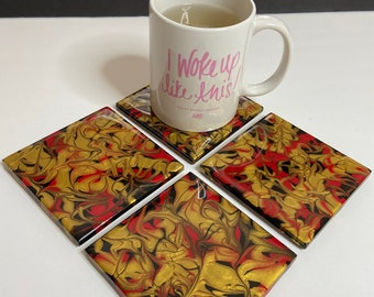 Hand Painted Tile Coasters / Set of 4 Coasters / Ceramic Tile Coasters / Drink Coasters  / Housewarming Gift / Red Black & Gold