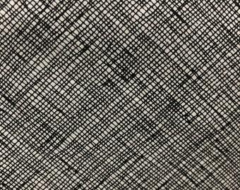 DESTASH Carolyn Friedlander for Robert Kaufman Fabrics 2 yards Architextures Crosshatch in Black and White