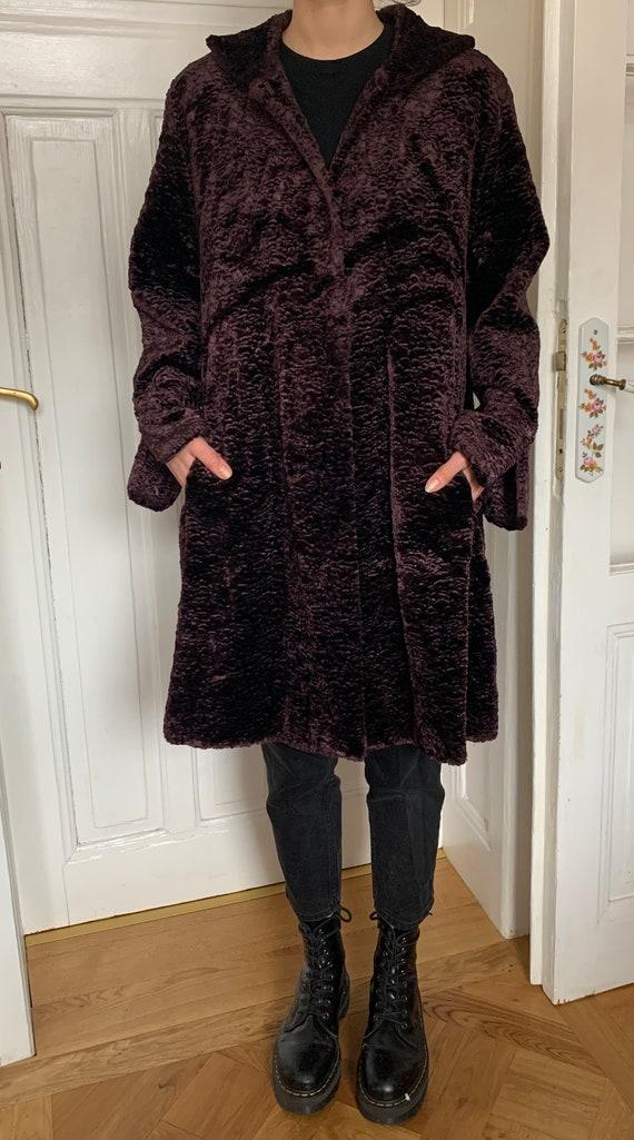 Vintage Trench Coat Sz M 10 Mackintosh Wine Burgundy Dark Red Cotton Velvet Long Free US Shipping