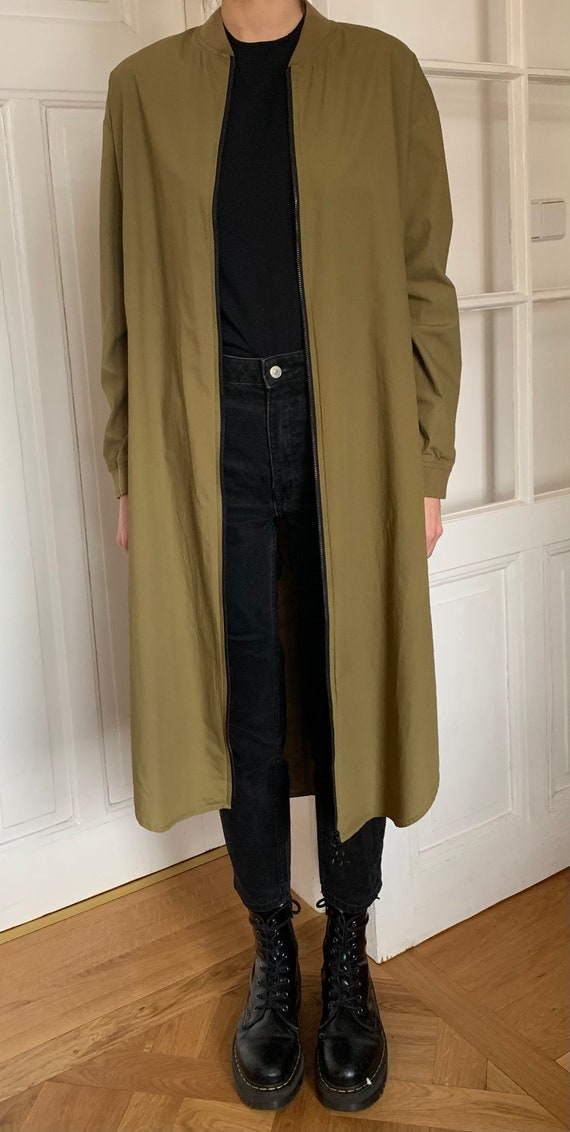 Vintage Lady's Khaki Green Cotton Zip Up Long Coat