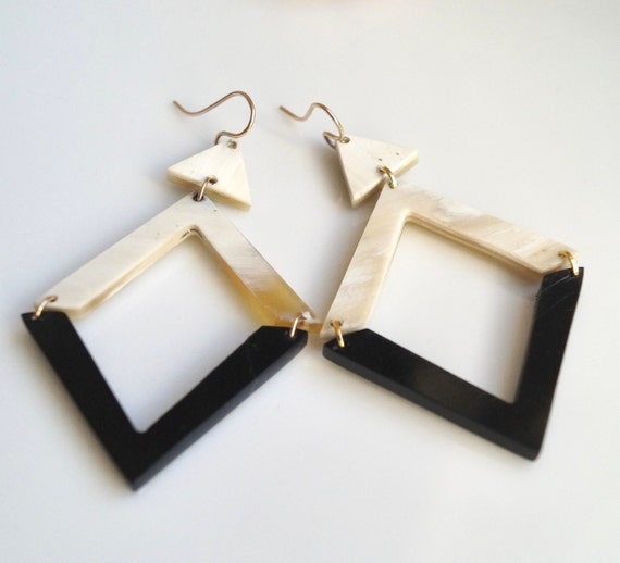 Geometric earrings with buffalo horn elements Gold filled gold vermeil Argentium 935 silver Brass Statement earrings