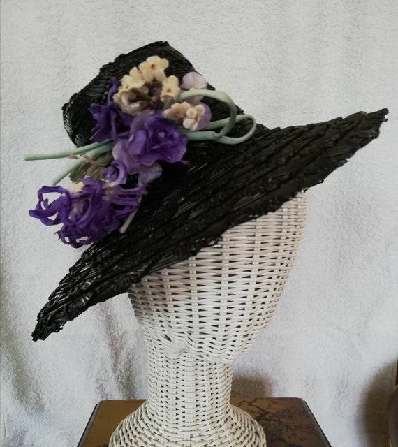 1940s Black Straw Fedora style topper