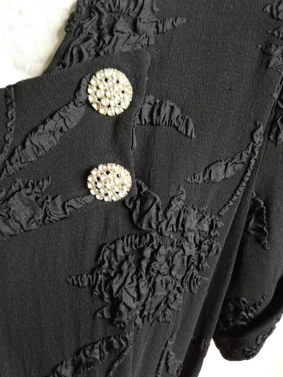1940s Black Crepe Dress - image 5