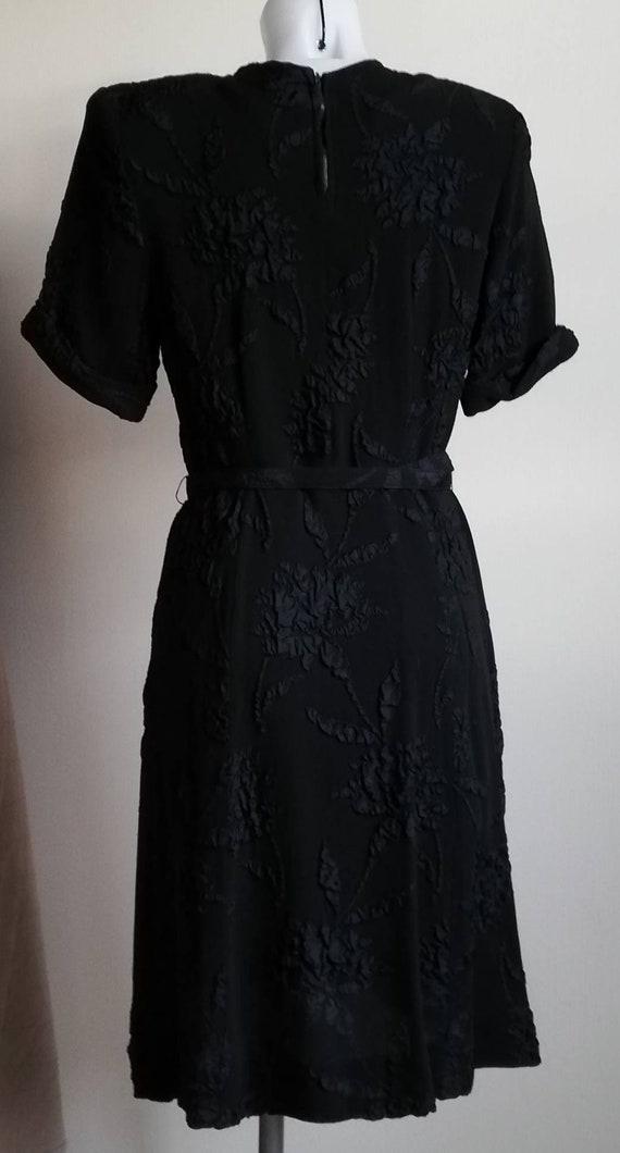 1940s Black Crepe Dress - image 2