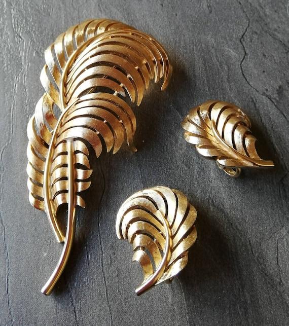 Crown Trifari Brooch and Earrings Set