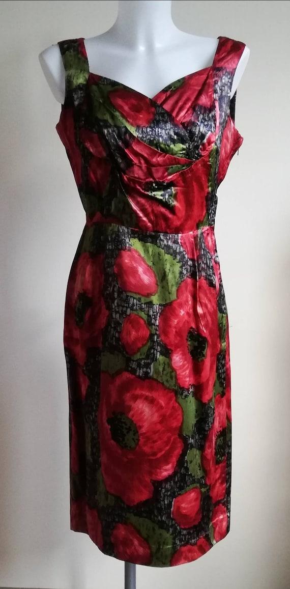 1950s Red Poppy Wiggle Dress