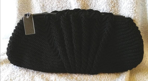 1940s Black Crocheted Clutch Bag