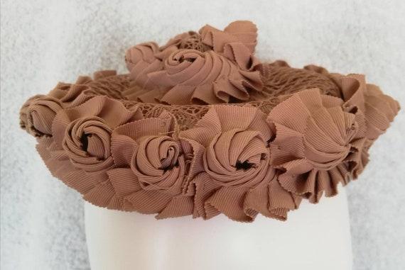 1950s Cappuccino Soutache Ribbon Cap