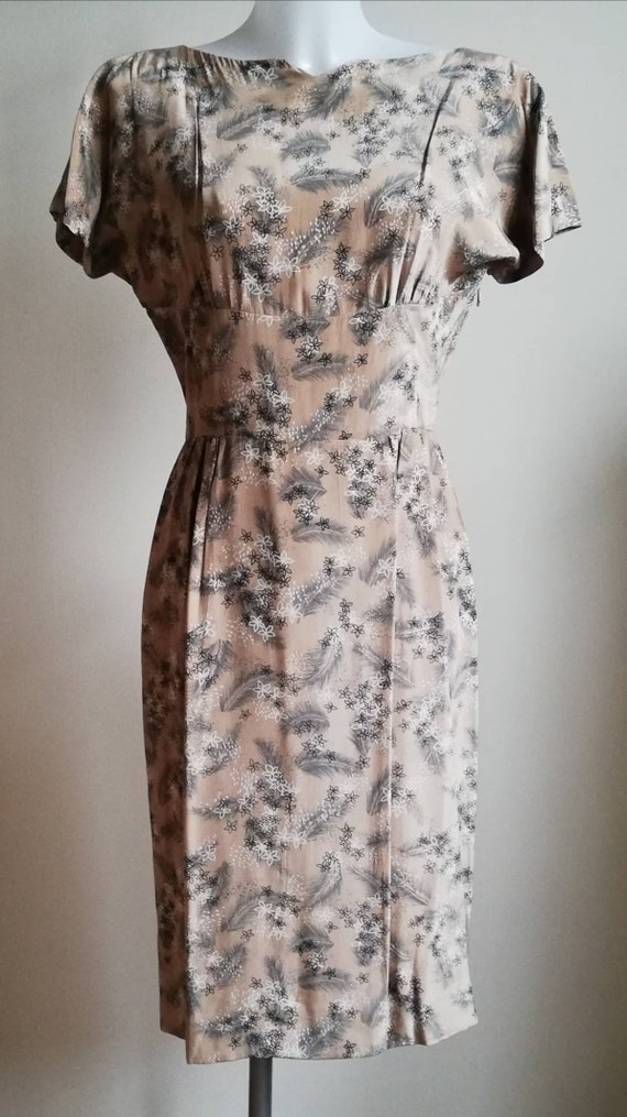 1960s Taupe Floral Wiggle Dress