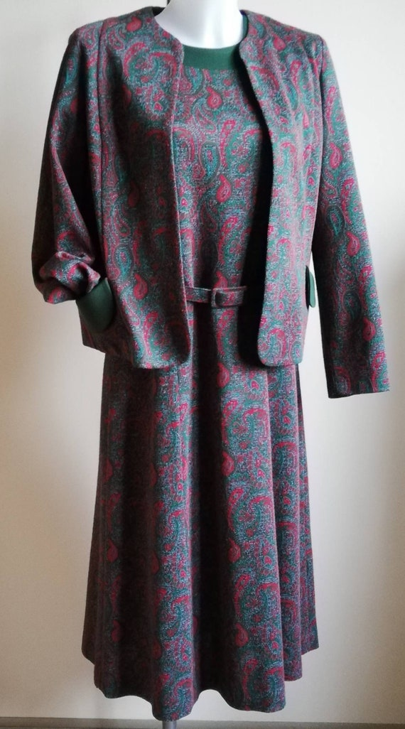 1970s  Green Paisley Dress and Jacket