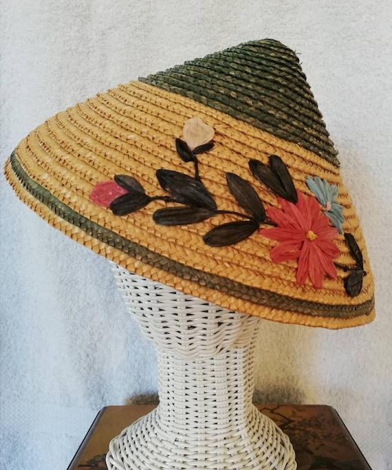 1950s Small straw sunhat