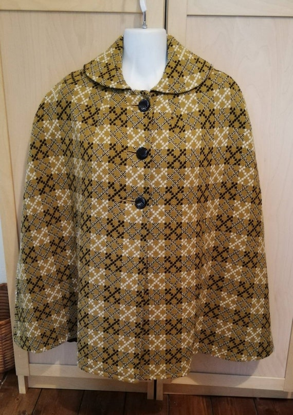 1960s Welsh Wool Tapestry Cape