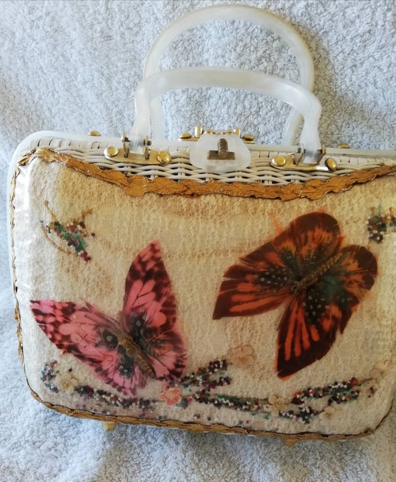 1950s Wicker Butterfly Basket bag